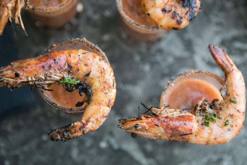 Grilled Prawns and Gazpacho